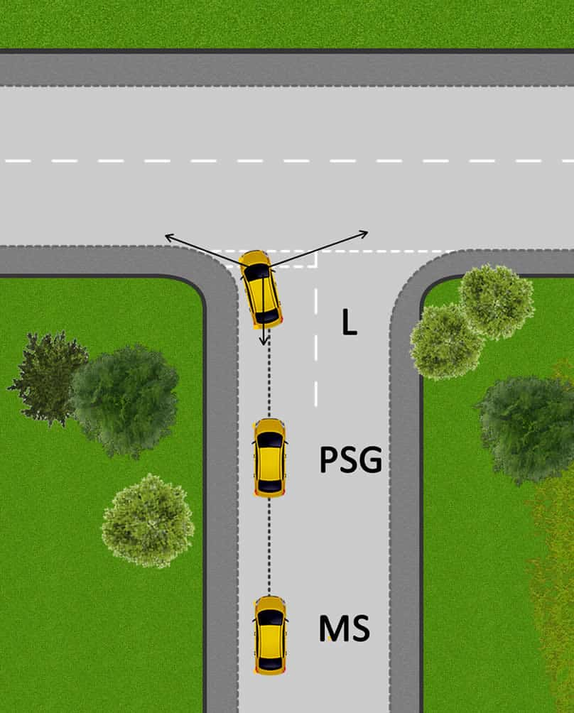 Turning left onto a major road