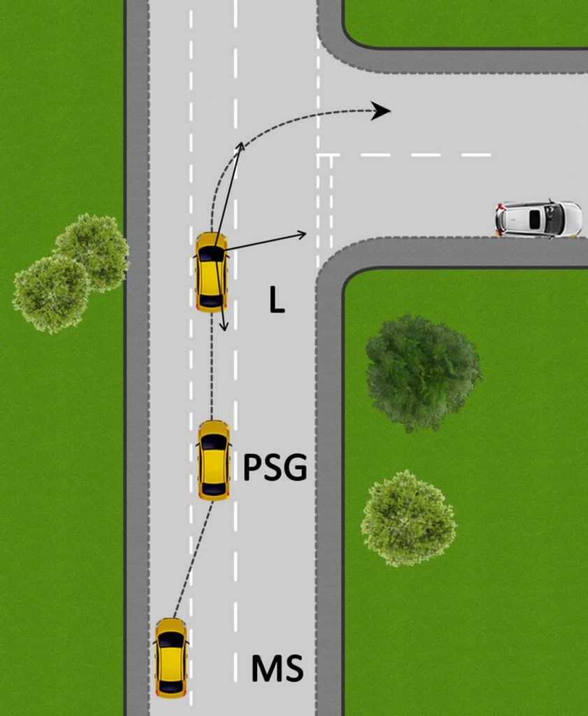 Turning right into a side road