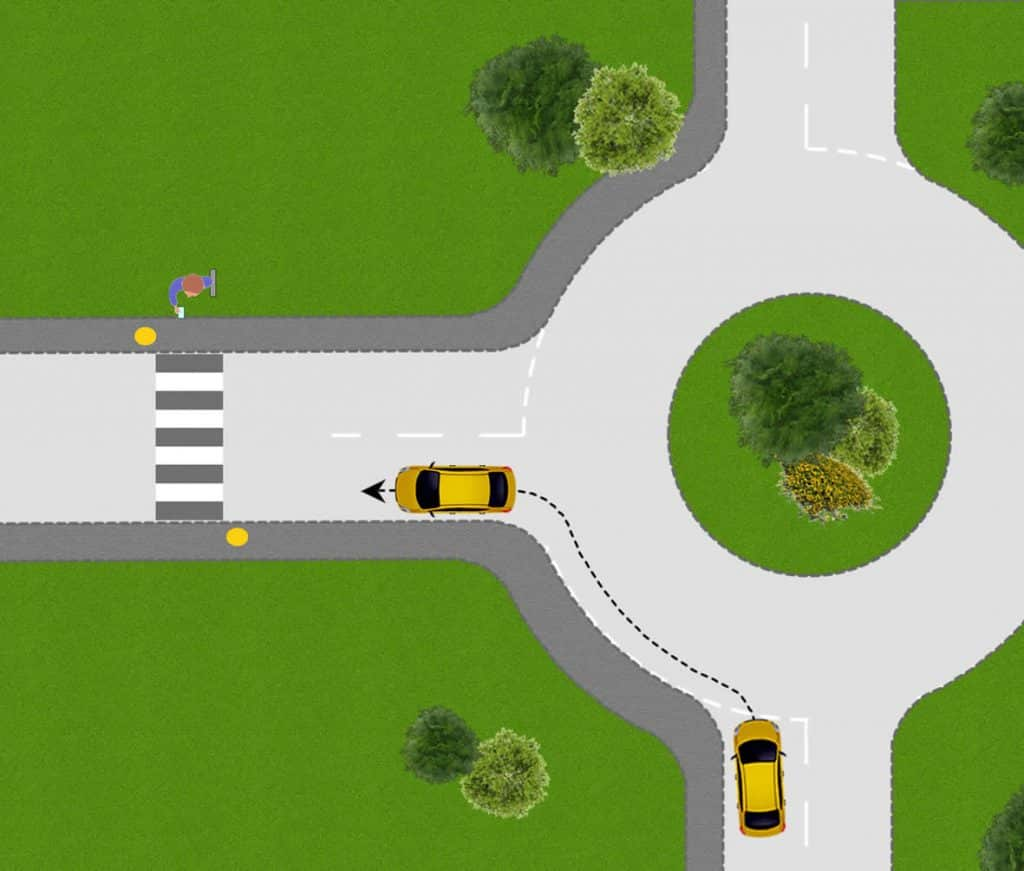 Turning left at a roundabout