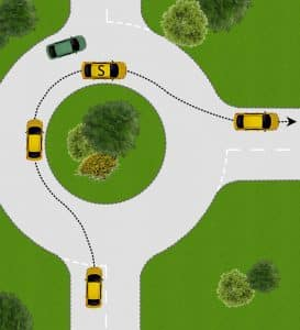 Turning right at a roundabout